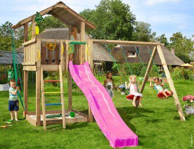 Jungle Gym Cubby 1 Swing Rouge Maisonnettes Bois pour